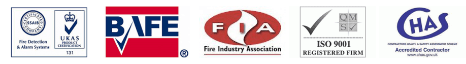 UKAS, BAFE, FIA, ISO9001 AND CHAS logos