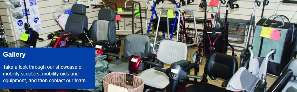 A range of mobility scooters and equipment