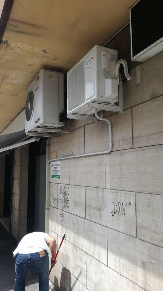 condizionatore attaccato al muro