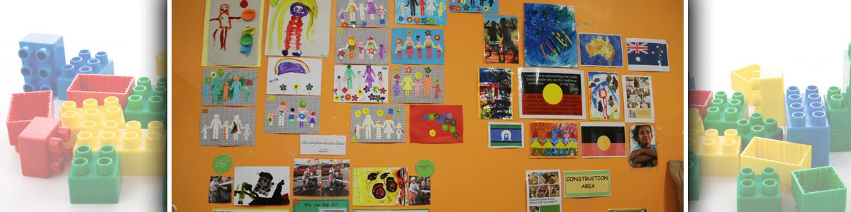 noosaville child care and pre school centre chartboard with colourful posters