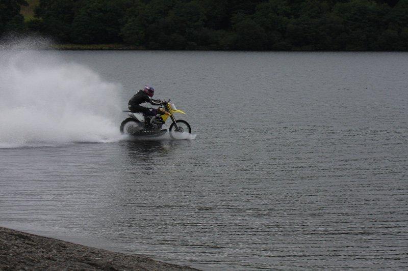 hydroplaning motorbike