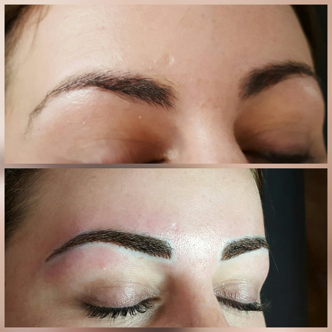 before and after eyebrow tinting