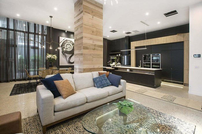 modern living room with central pillar
