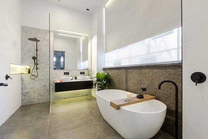 bathroom with modern tub