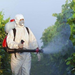uomo con tuta protettita durante una disinfestazione a delle piante