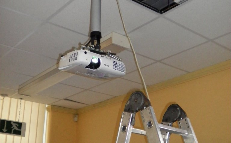 Ceiling mounting a projector