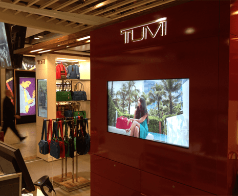 Shop with a screen built into the wall