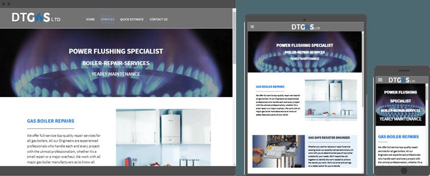 web design for gas boiler installation