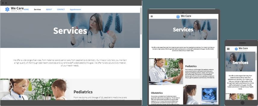 website design for medical care