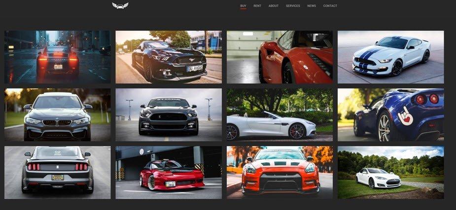 car showroom web design template