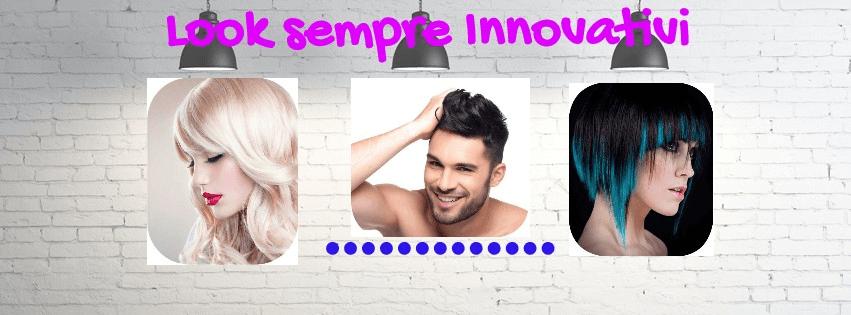 Locandina promozionale del salone con uomini e donne con tagli alla moda