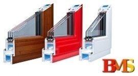 sezione di serramento color legno, sezione di serramento color rosso, sezione di serramento color bianco