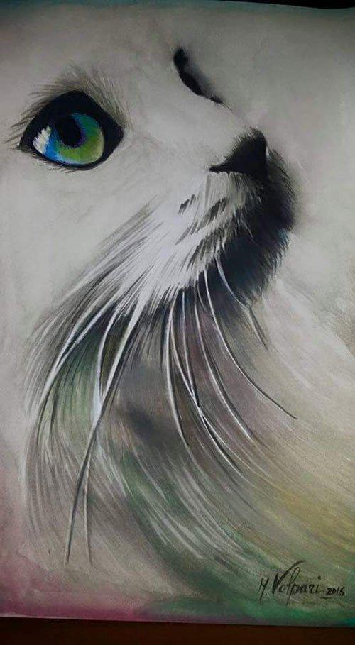 dipinto a vista ravvicinata del muso di un gatto bianco con occhi verdi e blu