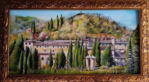 dipinto di una grande villa con davanti dei pini e dietro vista delle colline