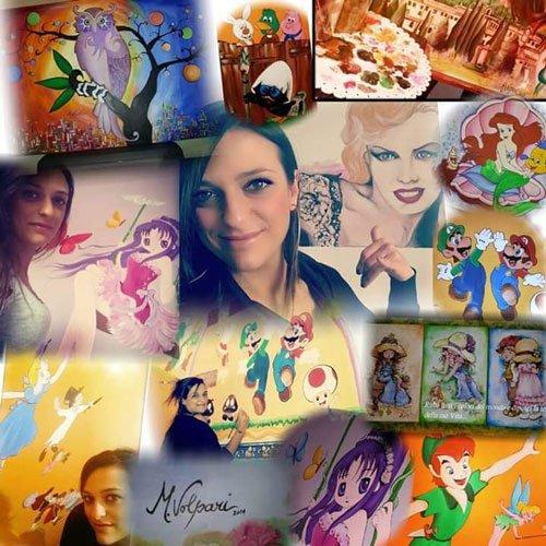 serie di immagini di una ragazza, di un dipinto di Marilyn Monroe,di una villa e di  alcune immagini tratte dai cartoni animati