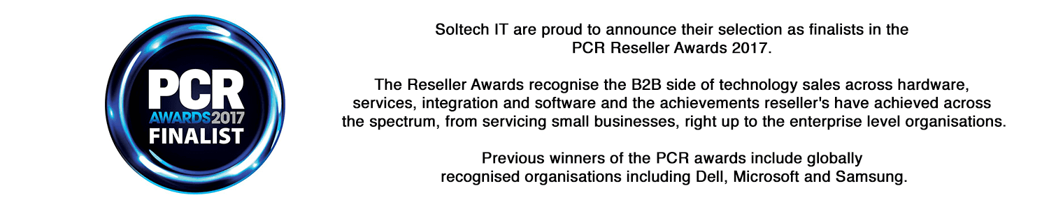 Soltech IT are proud to be a PCR Awards 2017 Finalist