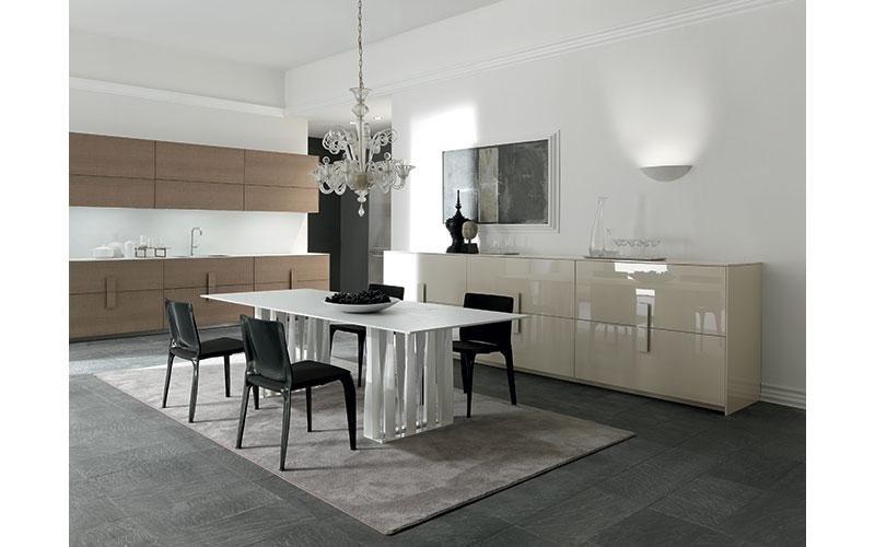tavolo bianco in stile moderno con sedie nere