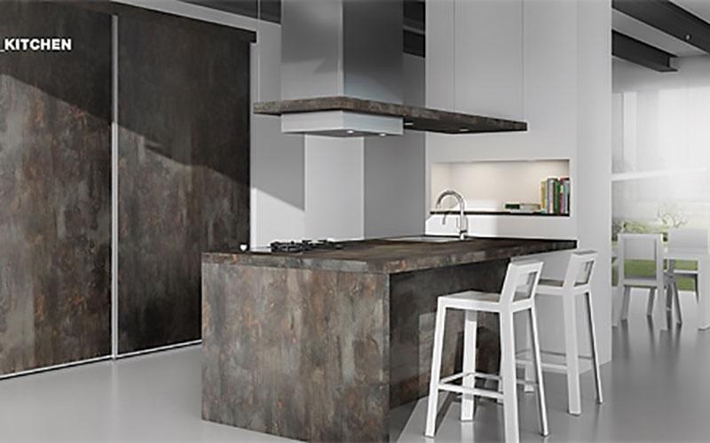 cucina moderna con isola color granito