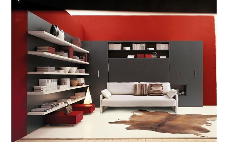 soggiorno con divano e ampia libreria