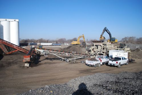 Gravel pit used in highway grinding in Omaha.