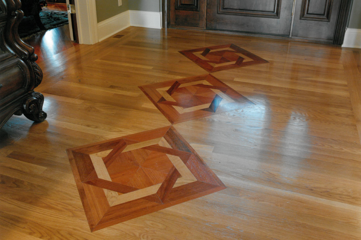 Sample of hardwood floor restoration in West Chester, OH