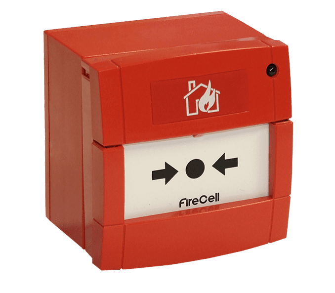 red coloured fire alarm