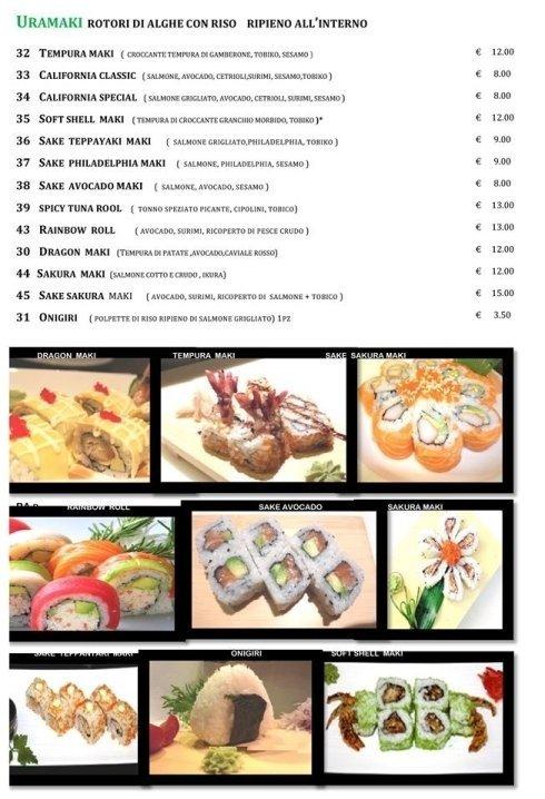 Il menu del ristorante Giapponese Hayashi Sushy a Roma