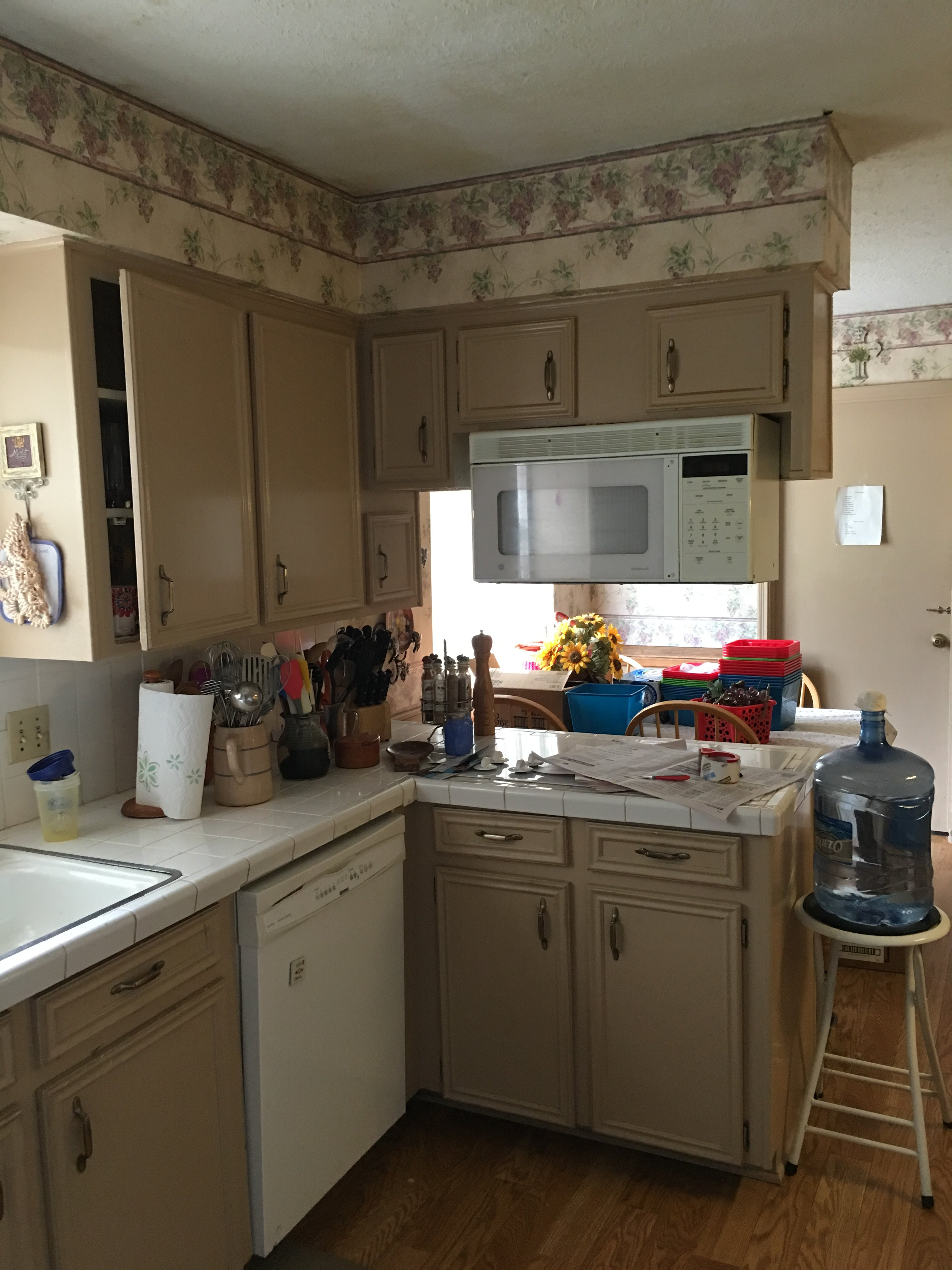 Kitchen countertops and cabinets before
