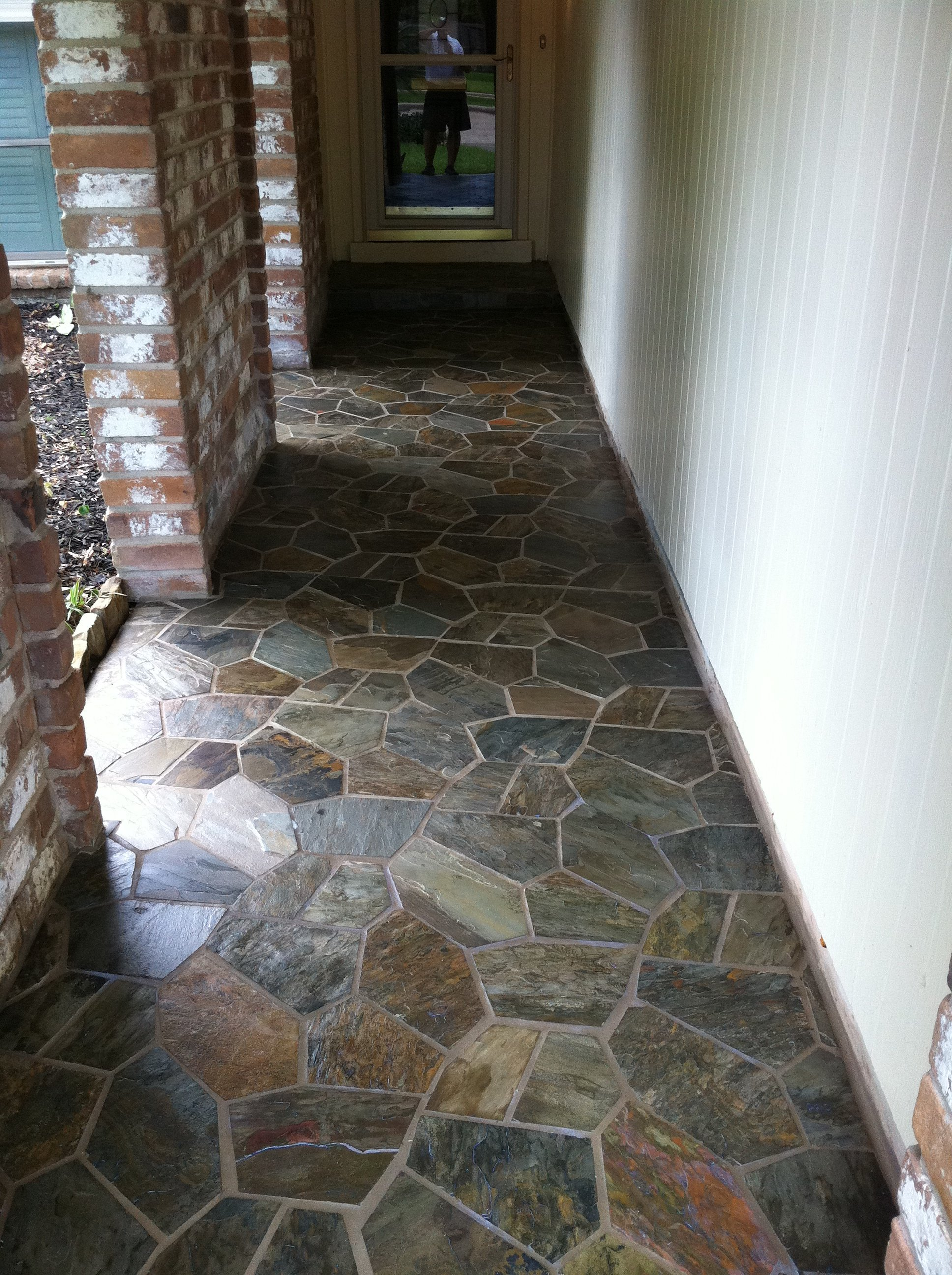 Porch slate flooring