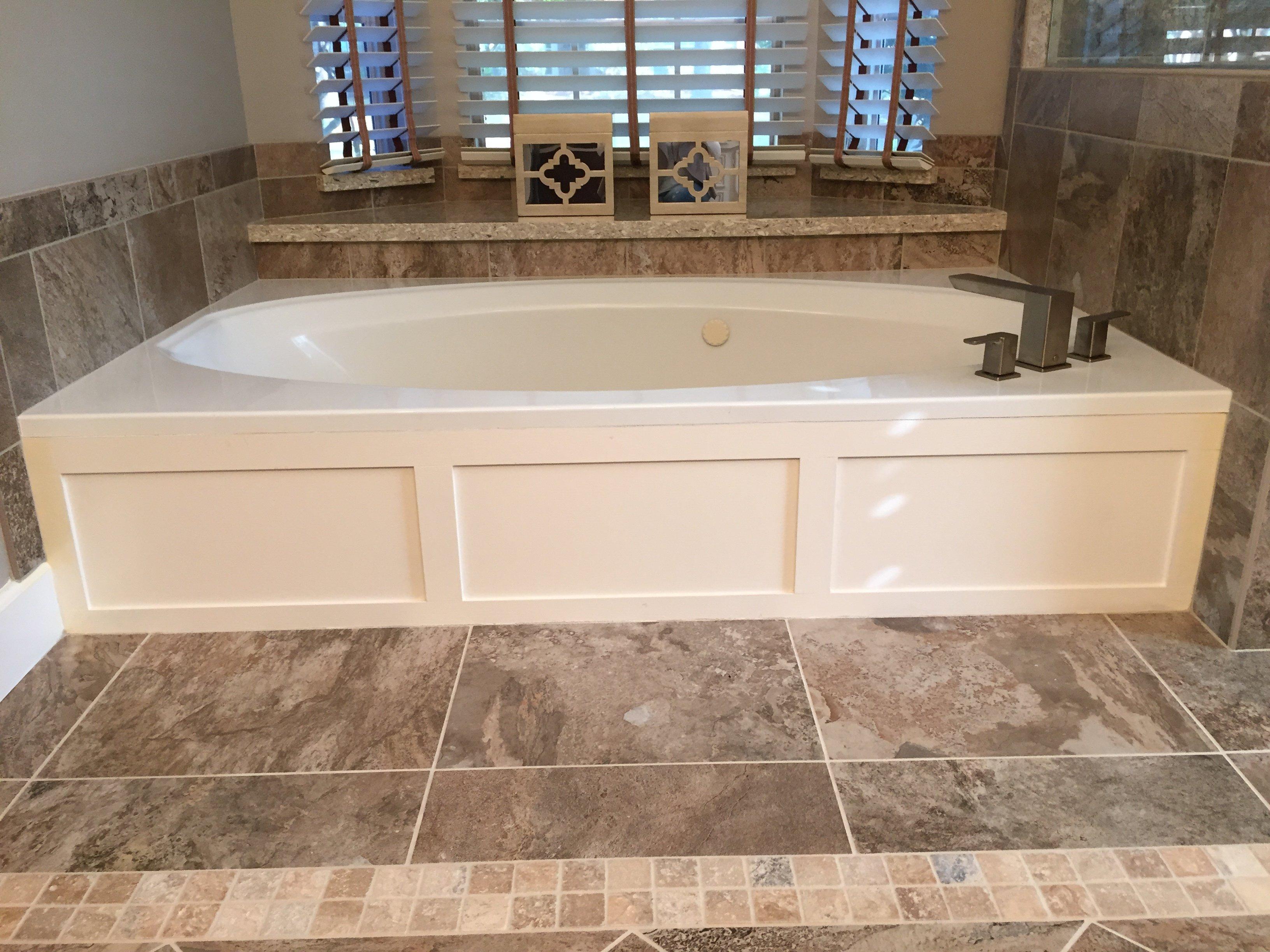 Bathroom flooring and tub