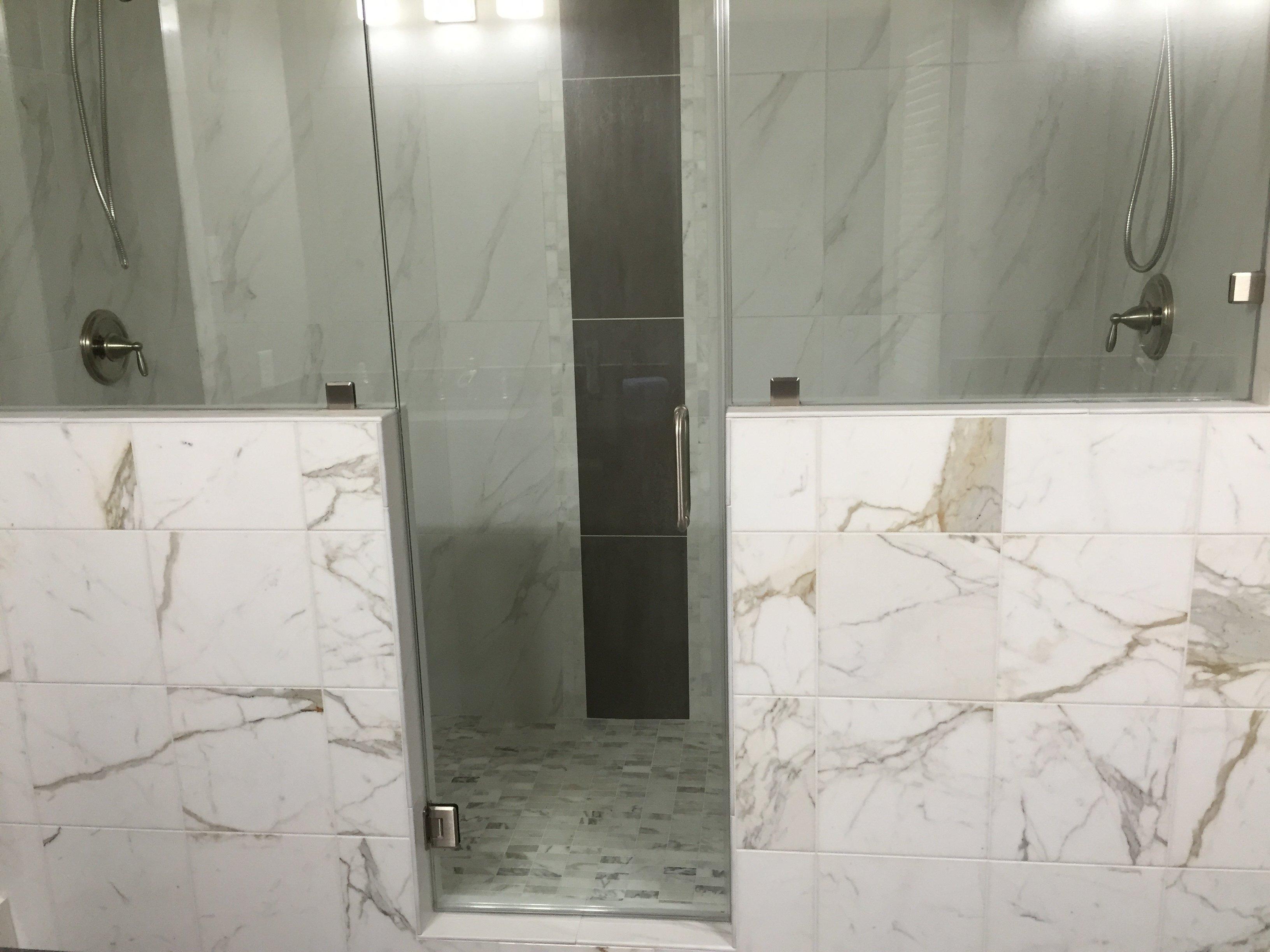 White stone shower