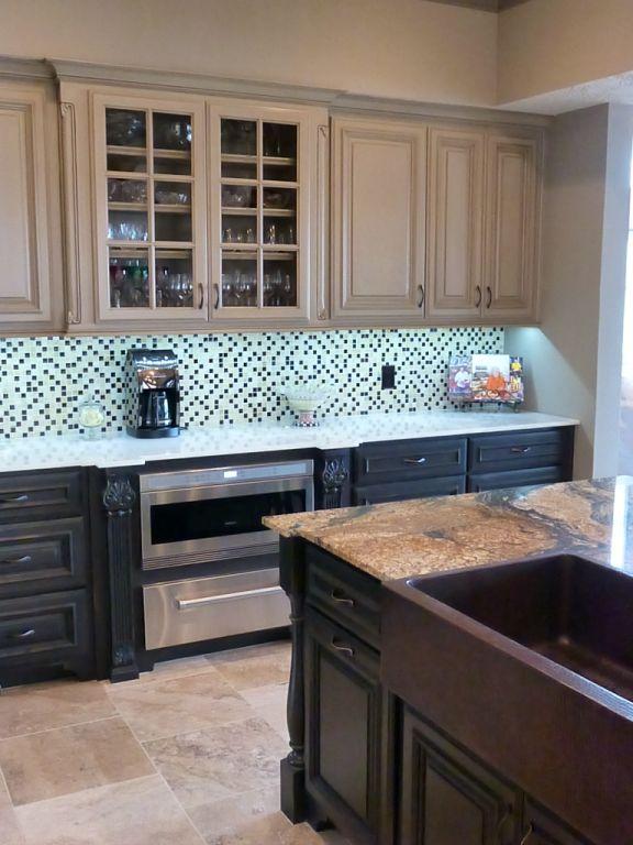 Kitchen cabinets, backsplash, and countertops