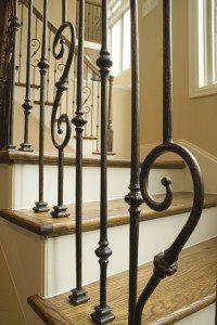 Wood stairway with metal railings
