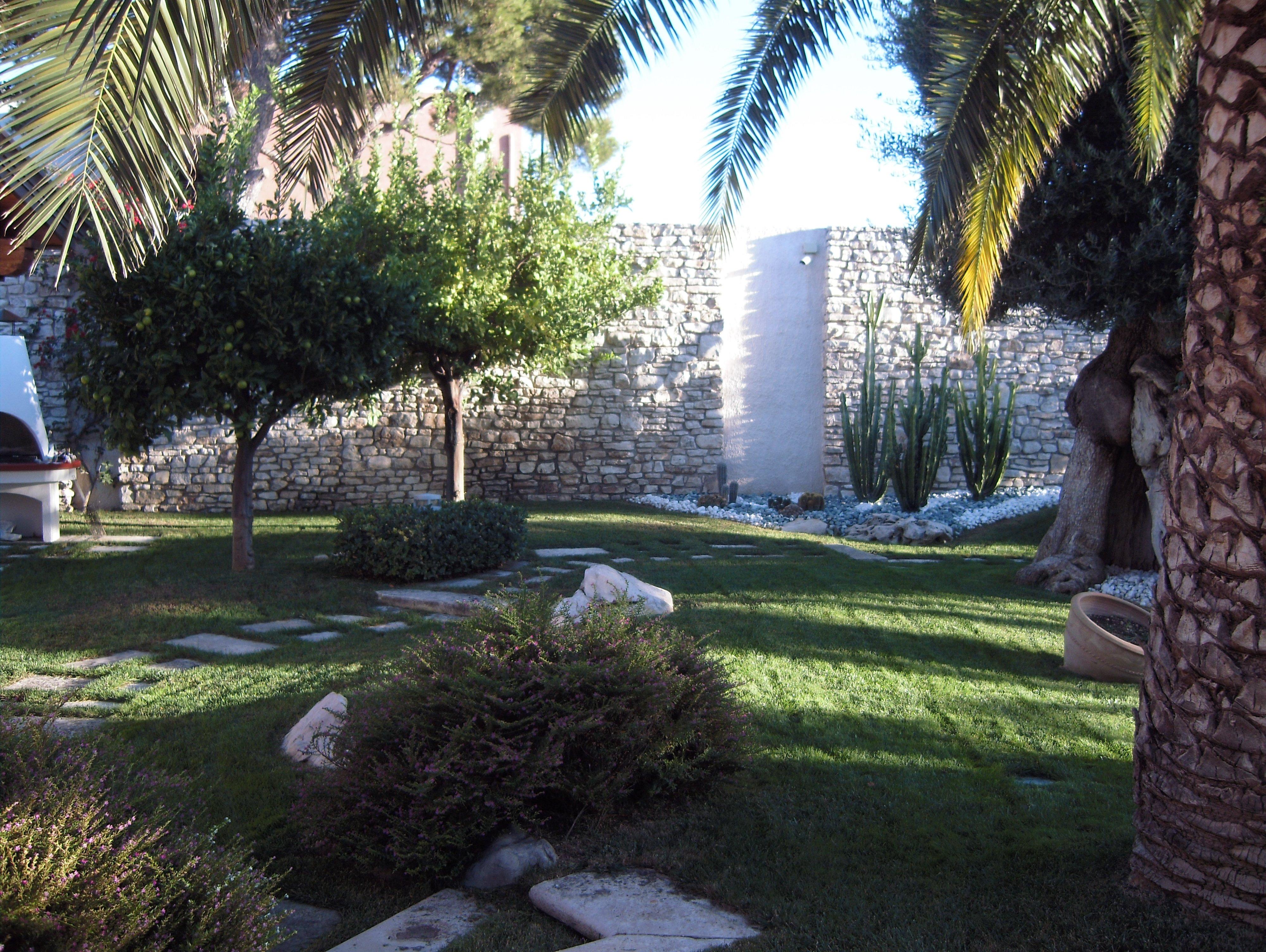 Giardino ben curato con siepi e alberi