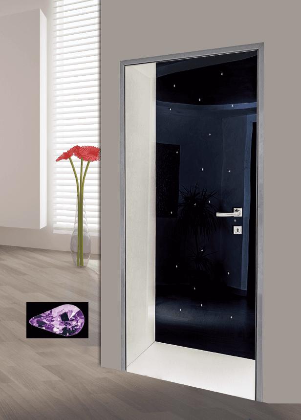 Modello F 102, vetro con applicazione ecopelle liscia bianco perla + acrilico nero +  Swarovski elements