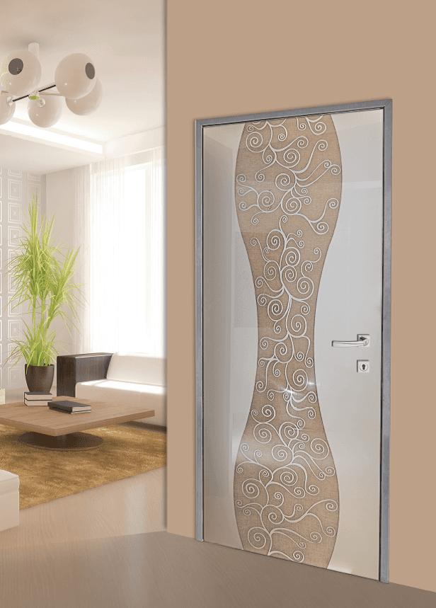 Modello F 119, vetro stratificato con interno tessuto lino + disegno sabbiato