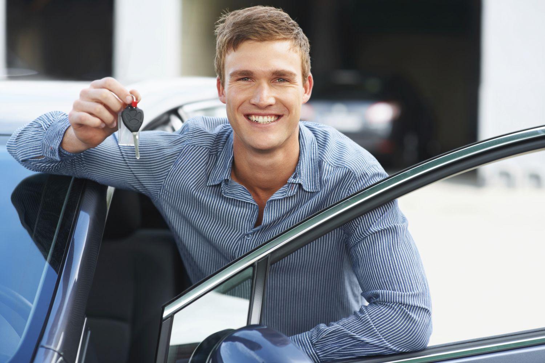 man in car at title loans shop in Crossville, TN