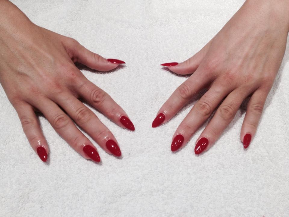 pointed red nails