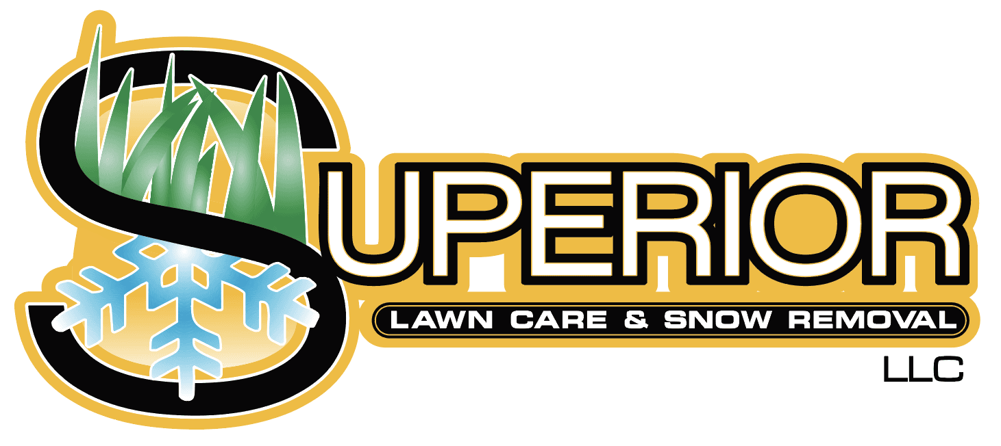 Superior Lawn care and snow removal logo, bright gold and light blue