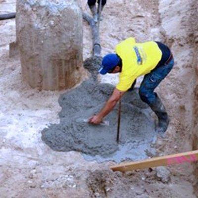 laying large concrete foundation