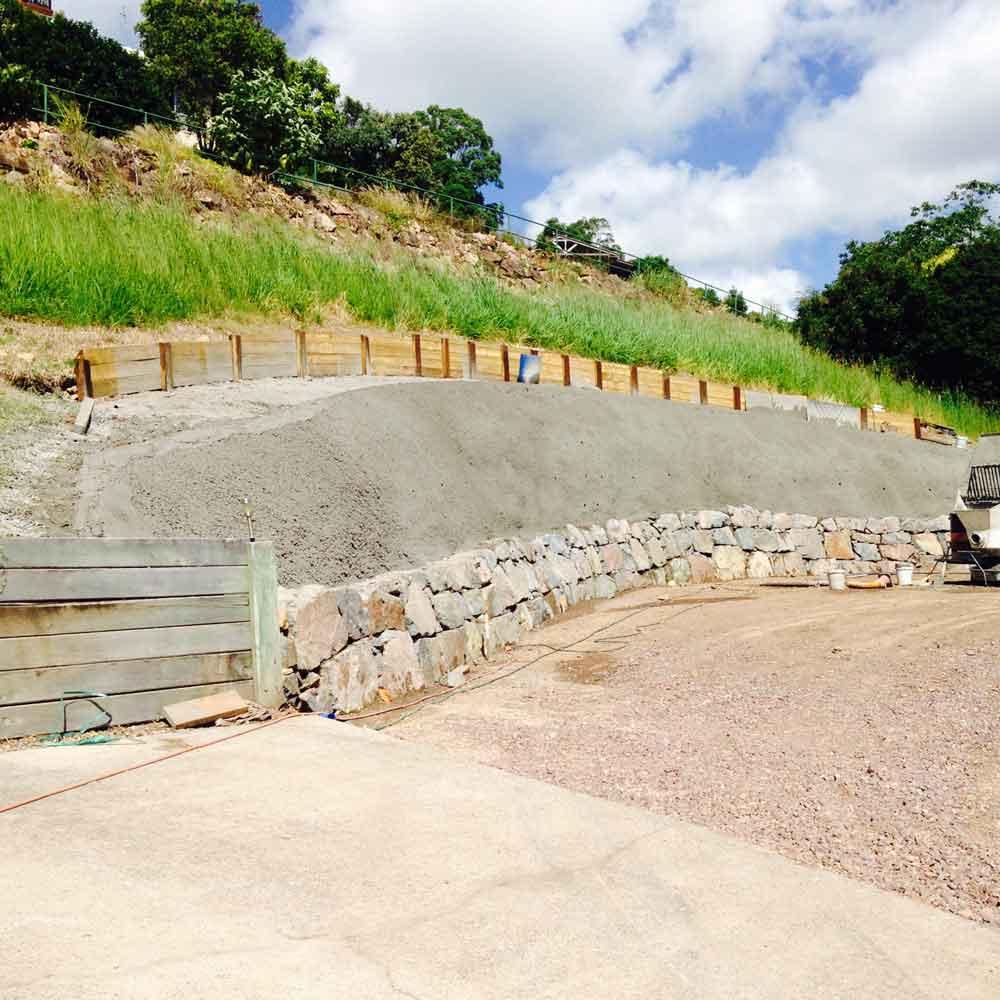 large retaining concrete wall