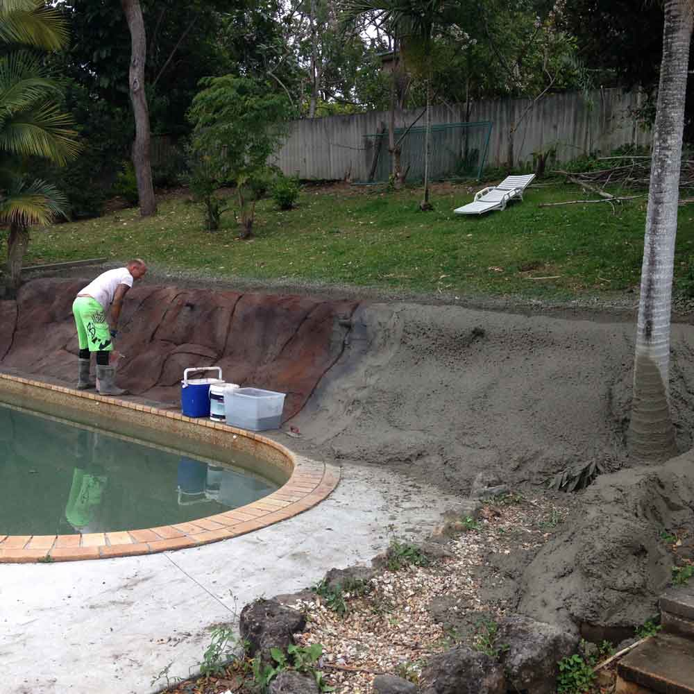 retaining wall by pool