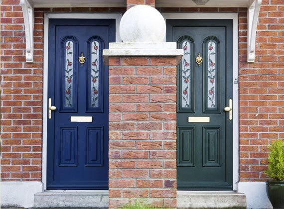 blue and green composite doors