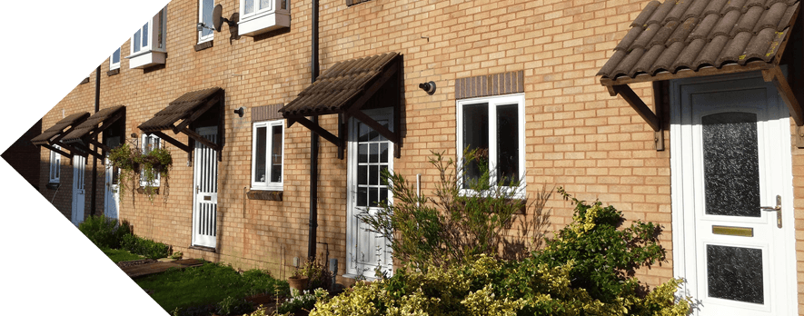 terraced houses with upvc windows and doors