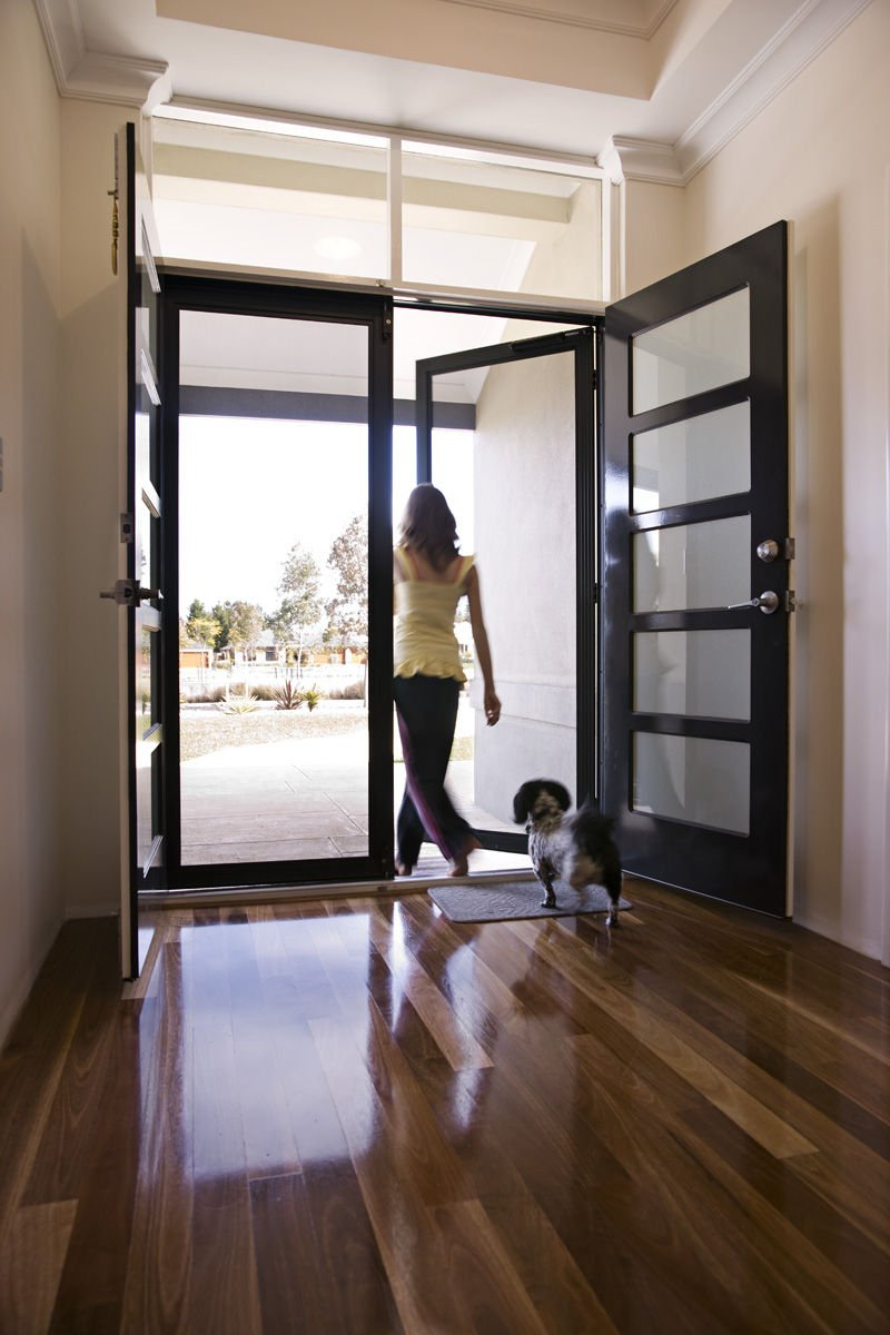 exiting a contemporary home