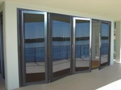 accordion glass doors with a view