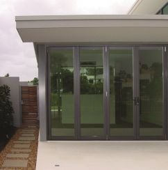 closed accordion glass doors