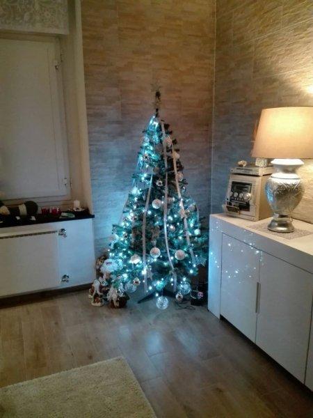 albero di natale nell`angolo di un salotto