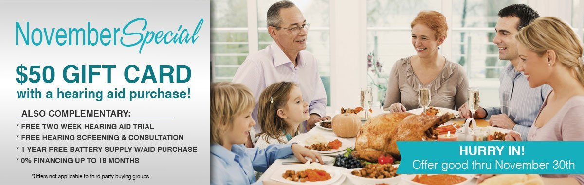 November Special: $50 Gift Card with Hearing Aid Purchase - Bieri Hearing Specialists