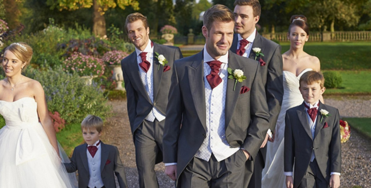 Grooms men dressed in suit